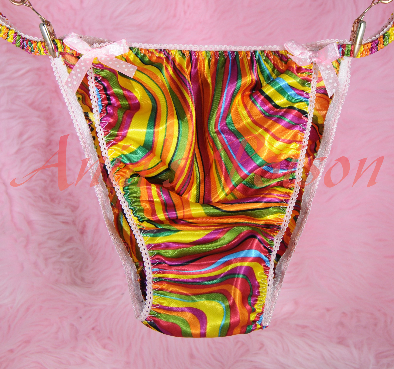 Ania's Poison MANties S - XXL Vintage style rainbow Pride 100% polyester string bikini sissy mens underwear panties