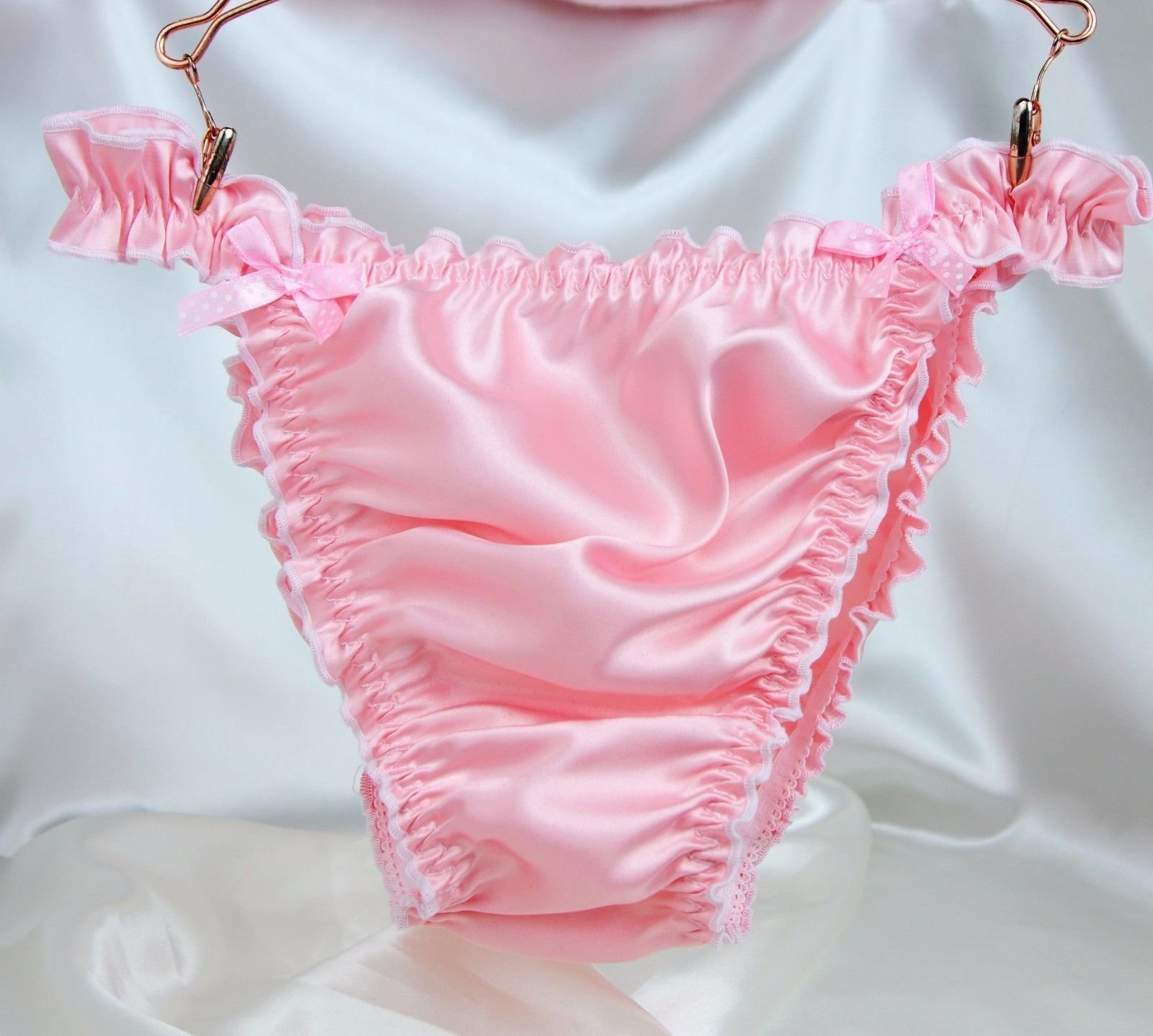 RB SISSY PANTIES!  Ruffled Frilly girly string bikini Satin mens panties Many Colors! 00180