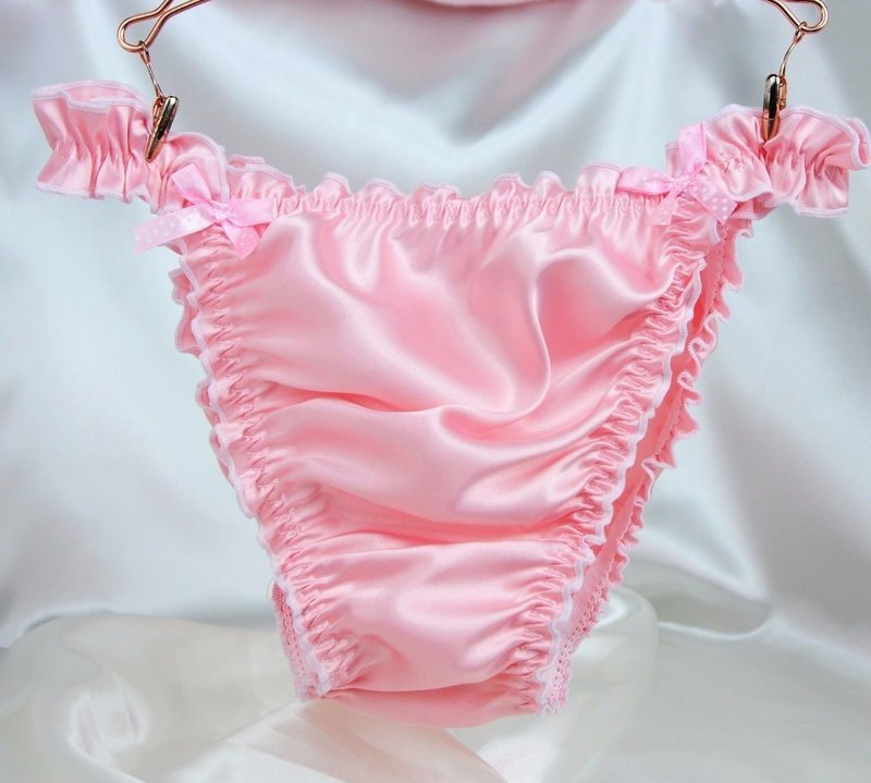 RB SISSY PANTIES!  Ruffled Frilly girly string bikini Satin mens panties Many Colors!