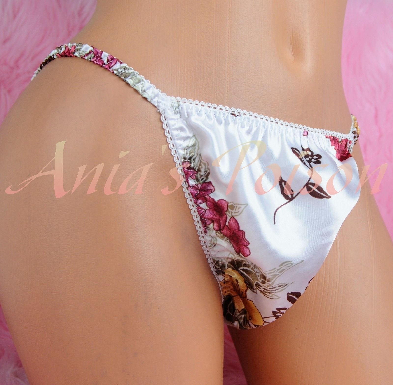 Ania's Poison MANties S - XXL Floral watercolor ladies Prints Super Rare 100% polyester string bikini sissy mens underwear panties