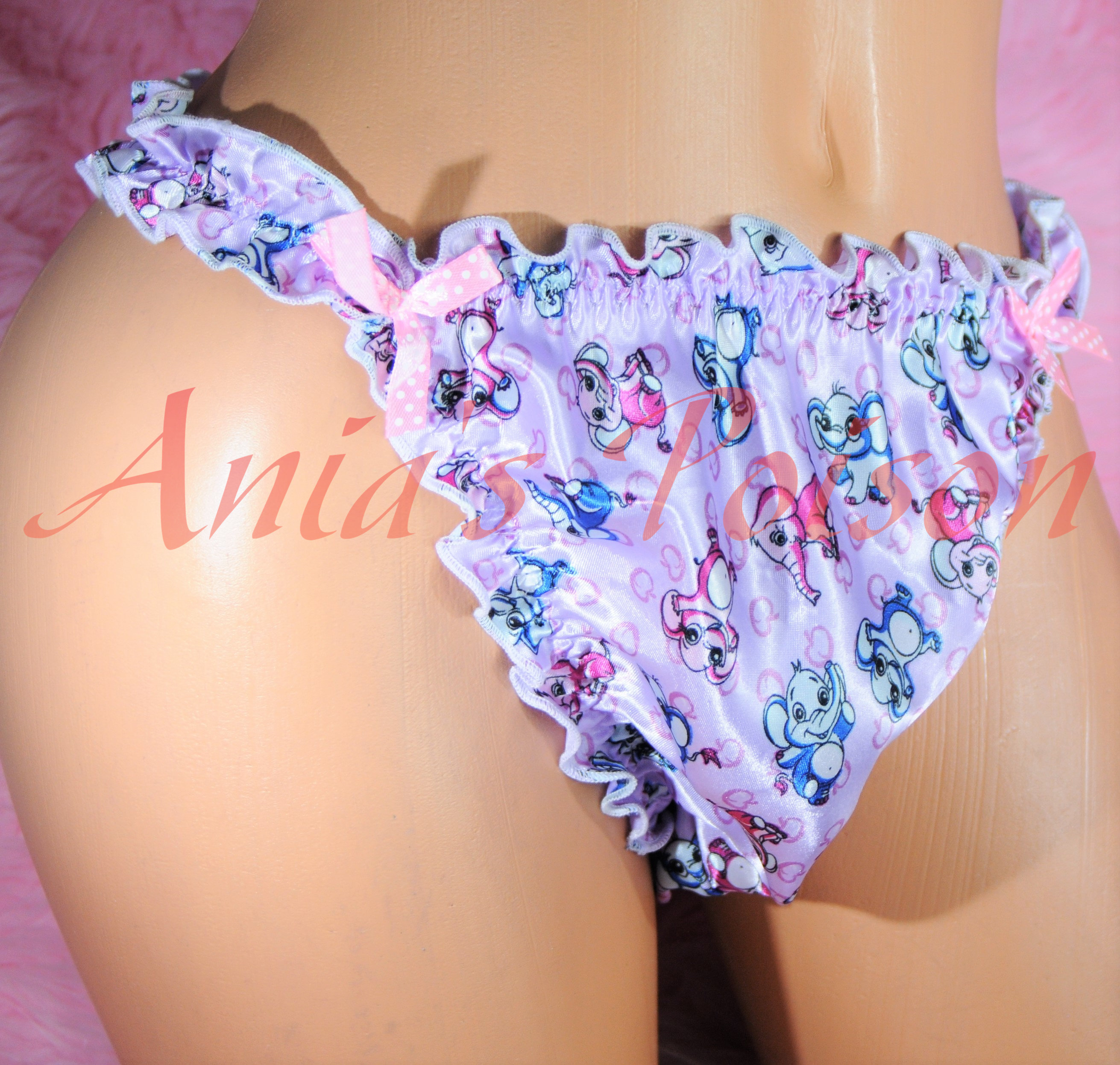 SISSY PANTIES!  Ruffled Frilly girly string bikini Satin mens panties PRINTS