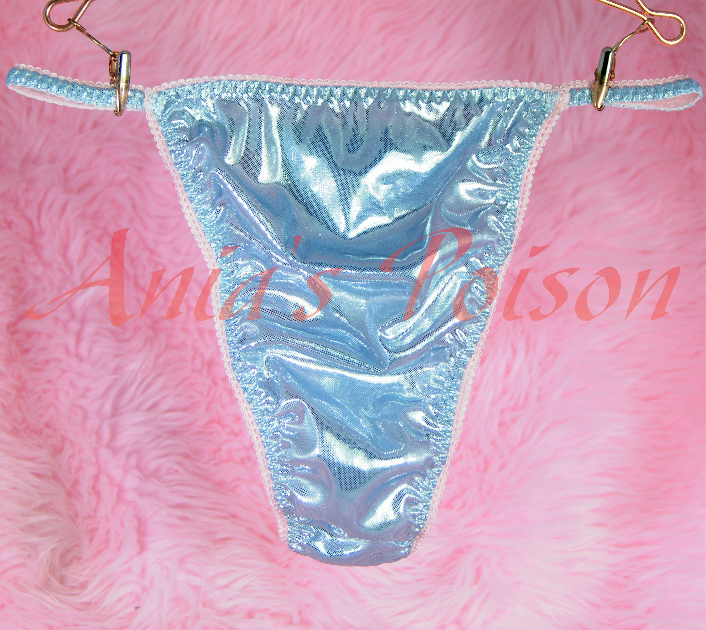 Ultimate Mens satin MANties  little slave sissy pouch string side thong humiliation exotic metallic panties OS