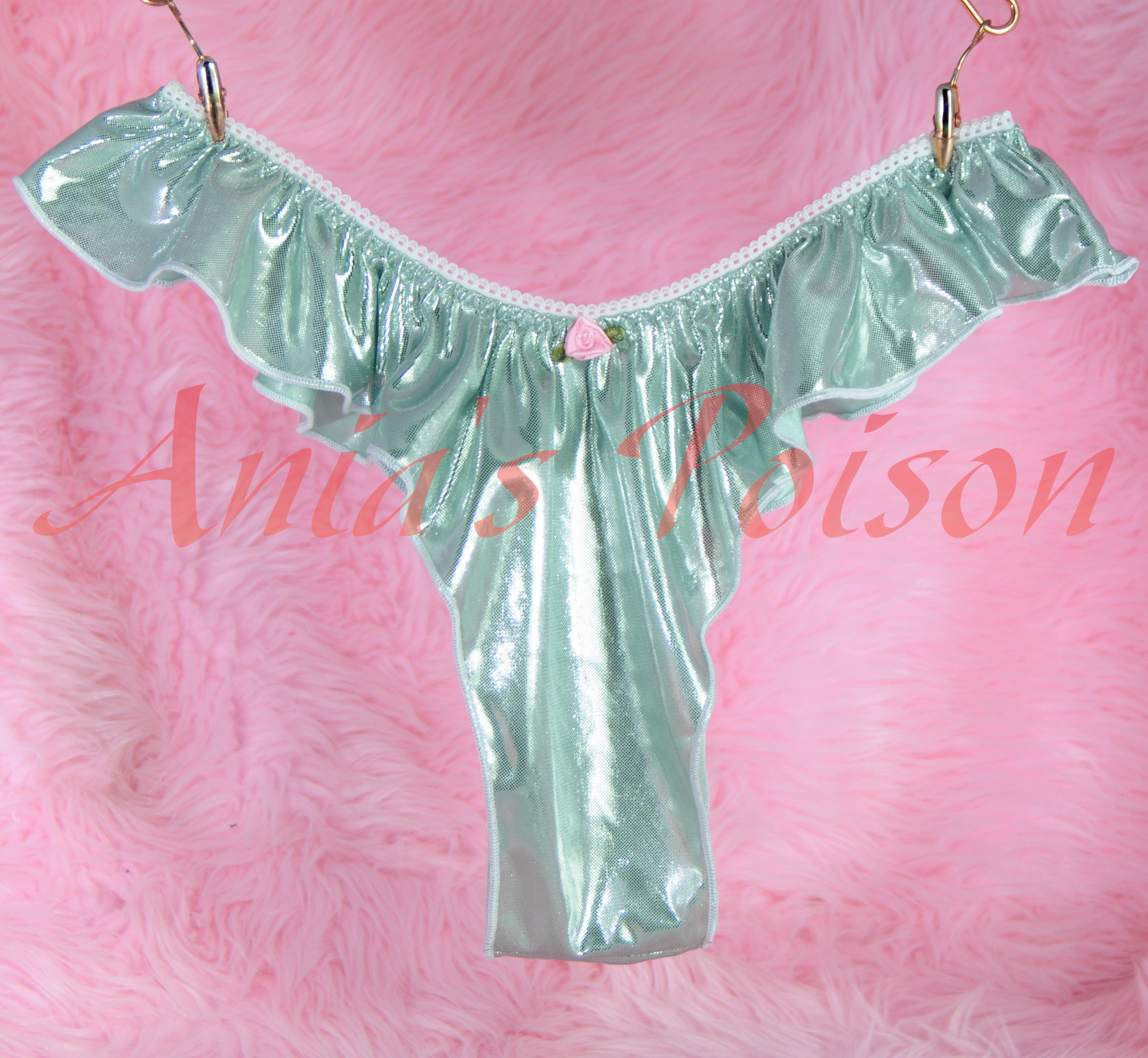 Teal Green satin panties shiny wet look ladies Brazilian Flutter sissy S-XXL