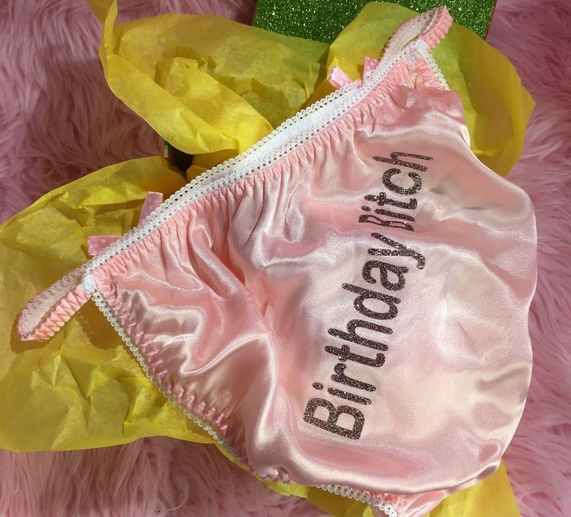 Vintage Style BIRTHDAY BITCH! wetlook ladies sissy satin panties String bikini size S-XXL