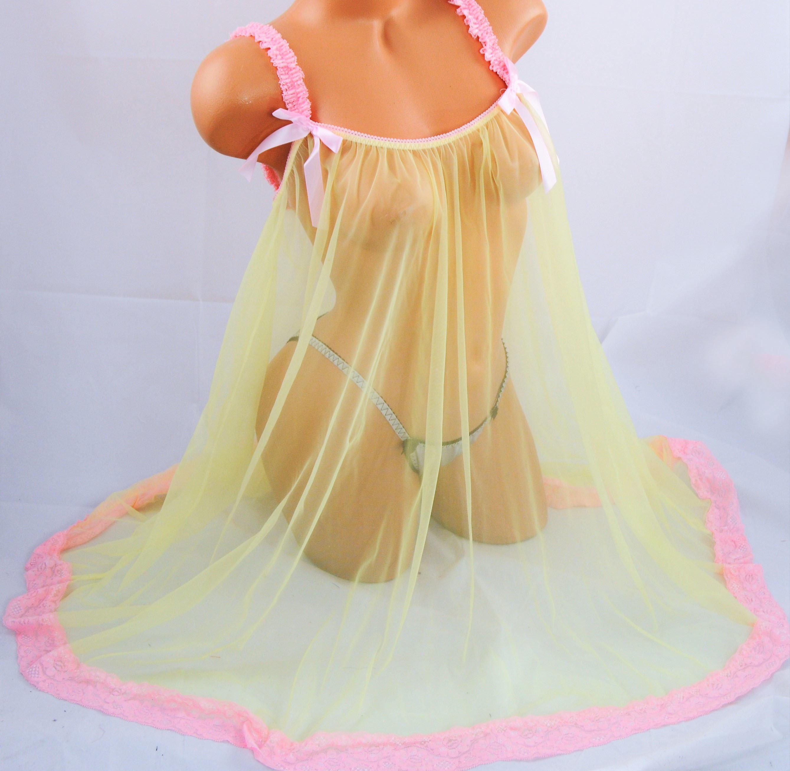 Vintage style All Antron HOT Pink chiffon nylon sissy sheer nightgown Nightie Peignoir MINI  OS L XL