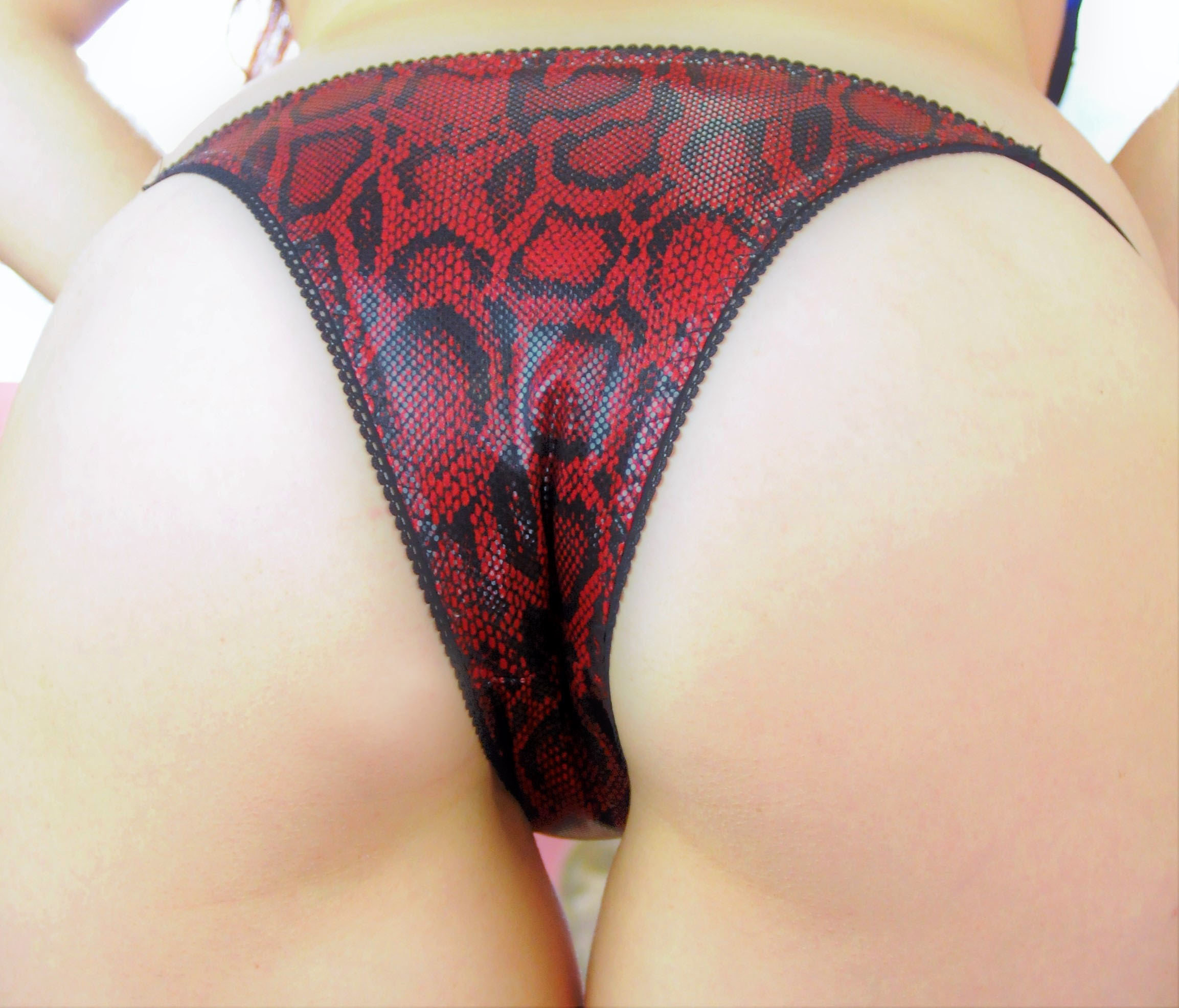 Ania's Cheeky Snake Skin naughty Brazilian Exotic dancer stripper panties with adjustable sides! 00210