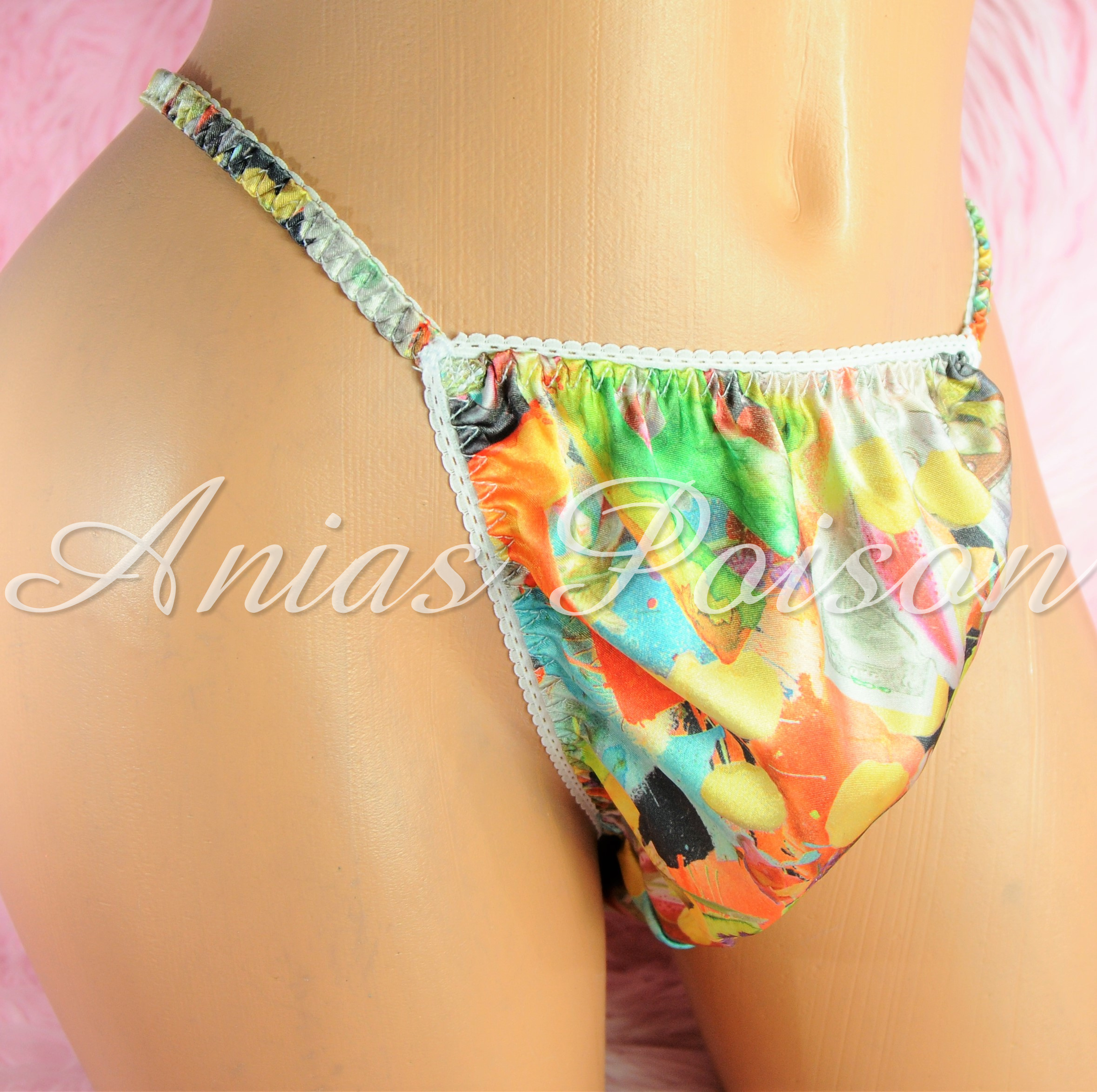 Sissy Mens Panties Satin Floral Hawaiian print string bikini panties S - XXL