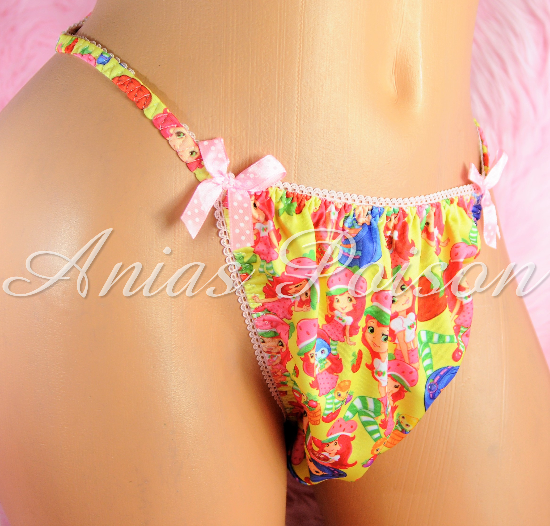 Rare Novelty Character print Spandex Stretch string bikini Strawberry Shortcake Princess Panties