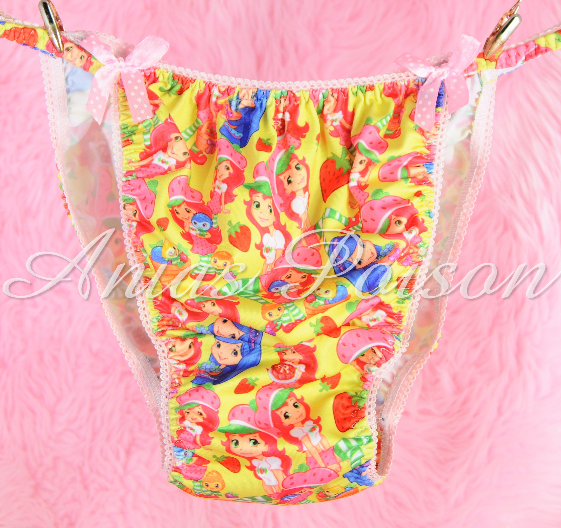 Rare Novelty Character print Spandex Stretch string bikini Strawberry Shortcake Princess Panties 00219