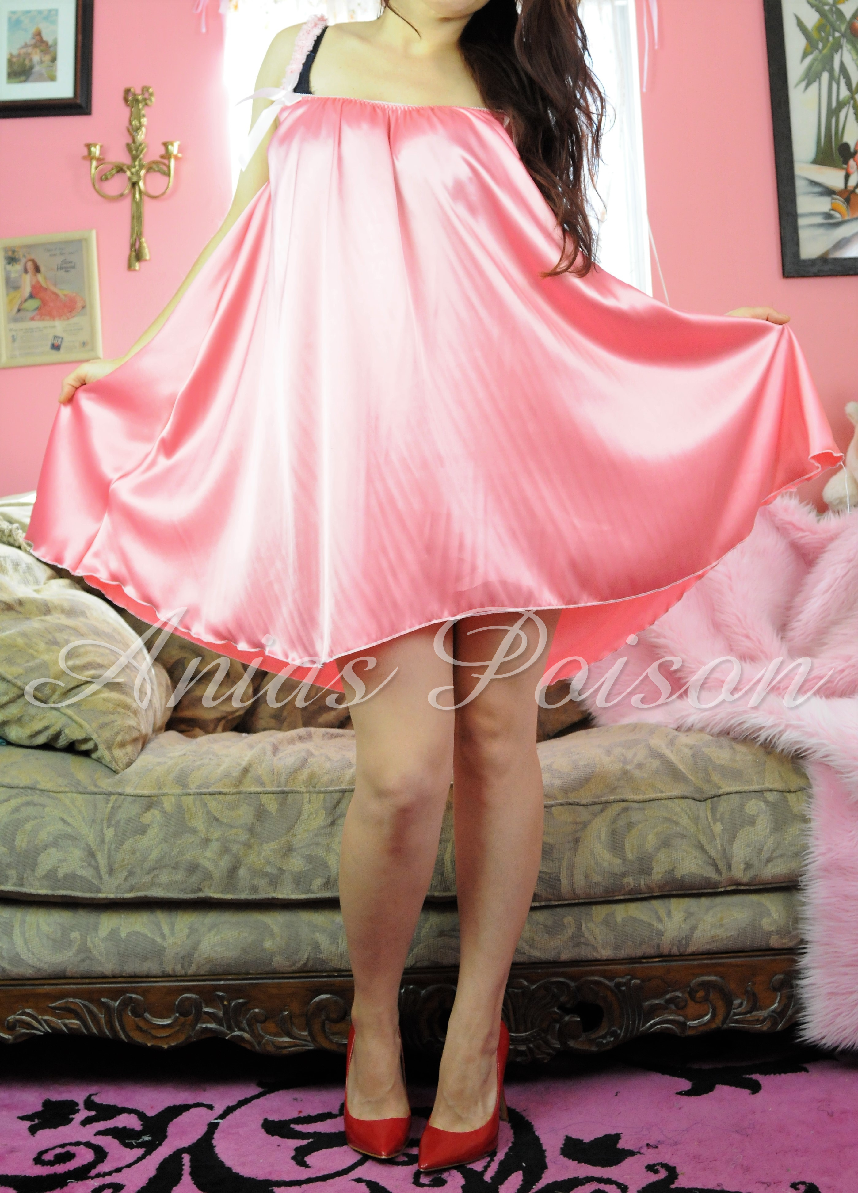 Vintage style Silky Satin Smooth and Shiny nightgown Nightie Peignoir MINI OS L XL
