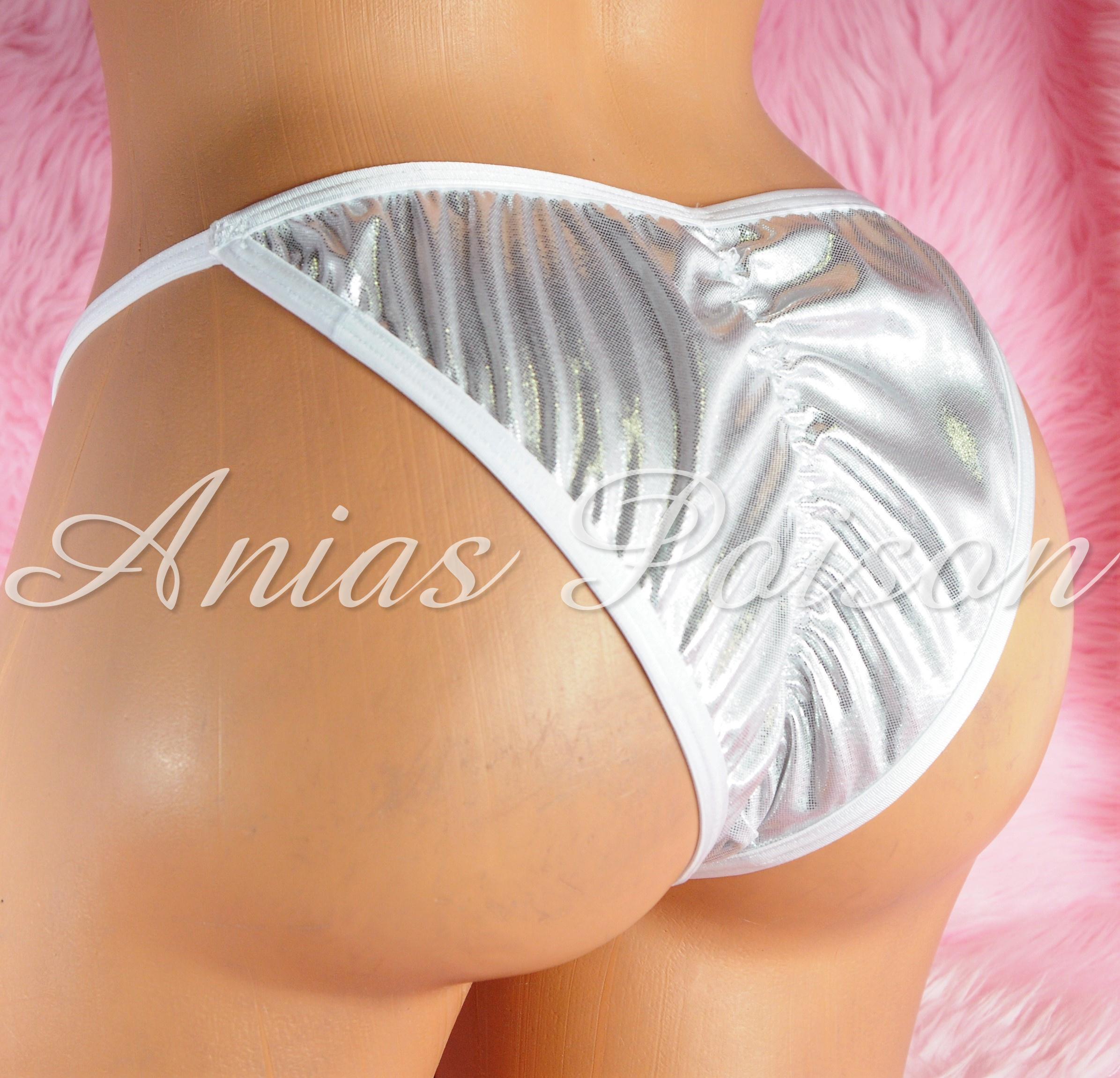 Scrunch Butt Brazilian Cut metallic shiny FOIL MANties  Cheeky cut string bikini sissy mens Sissy underwear panties 00223