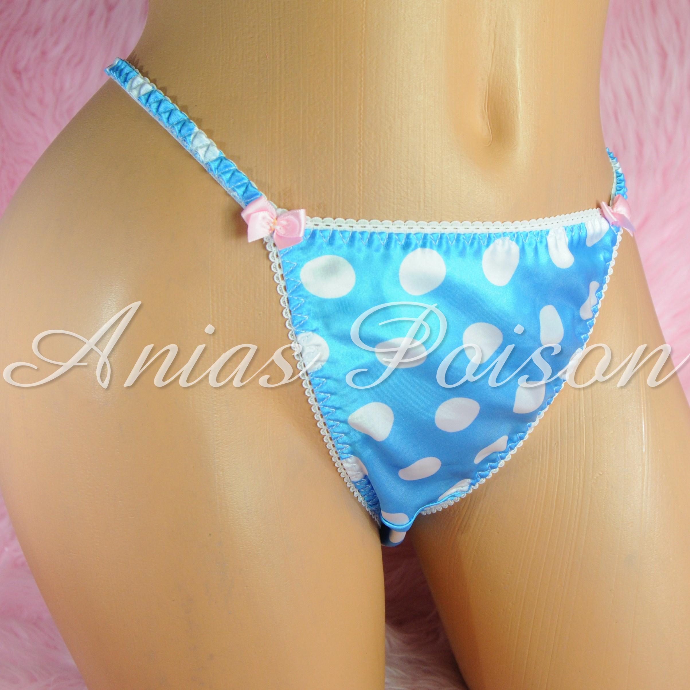 Vintage Style Prints wetlook ladies sissy satin panties String bikini size S-XXL