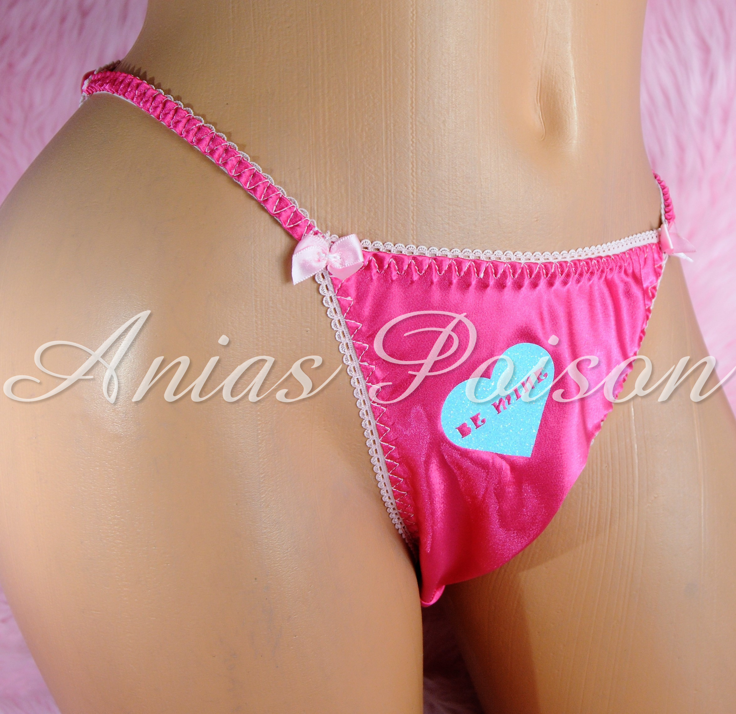 Valentine's Day Satin Ladies Custom Conversation Heart 80s style string bikini panties 00224