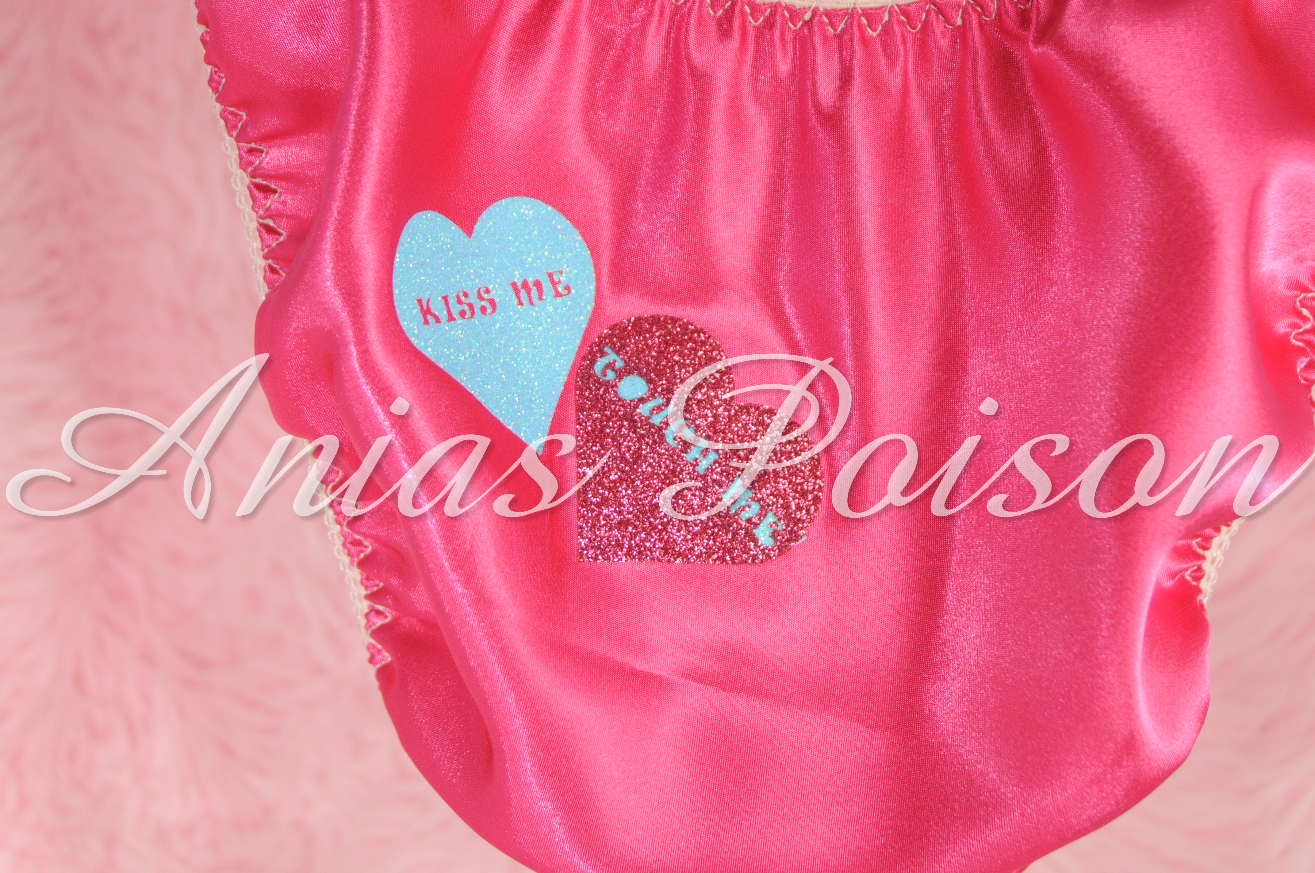 Valentine's Day Satin Ladies Custom Conversation Heart 80s style string bikini panties