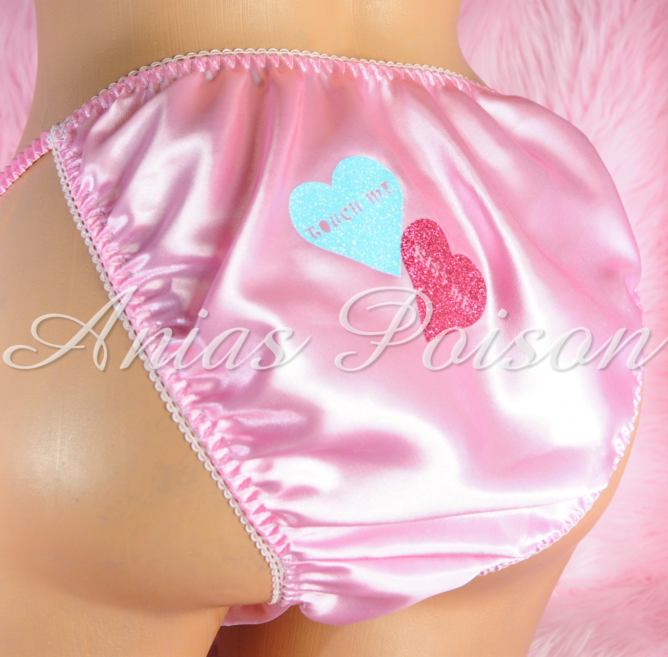 Valentine's Day Satin Mens Sissy Custom Conversation Heart 80s style string bikini panties 00225