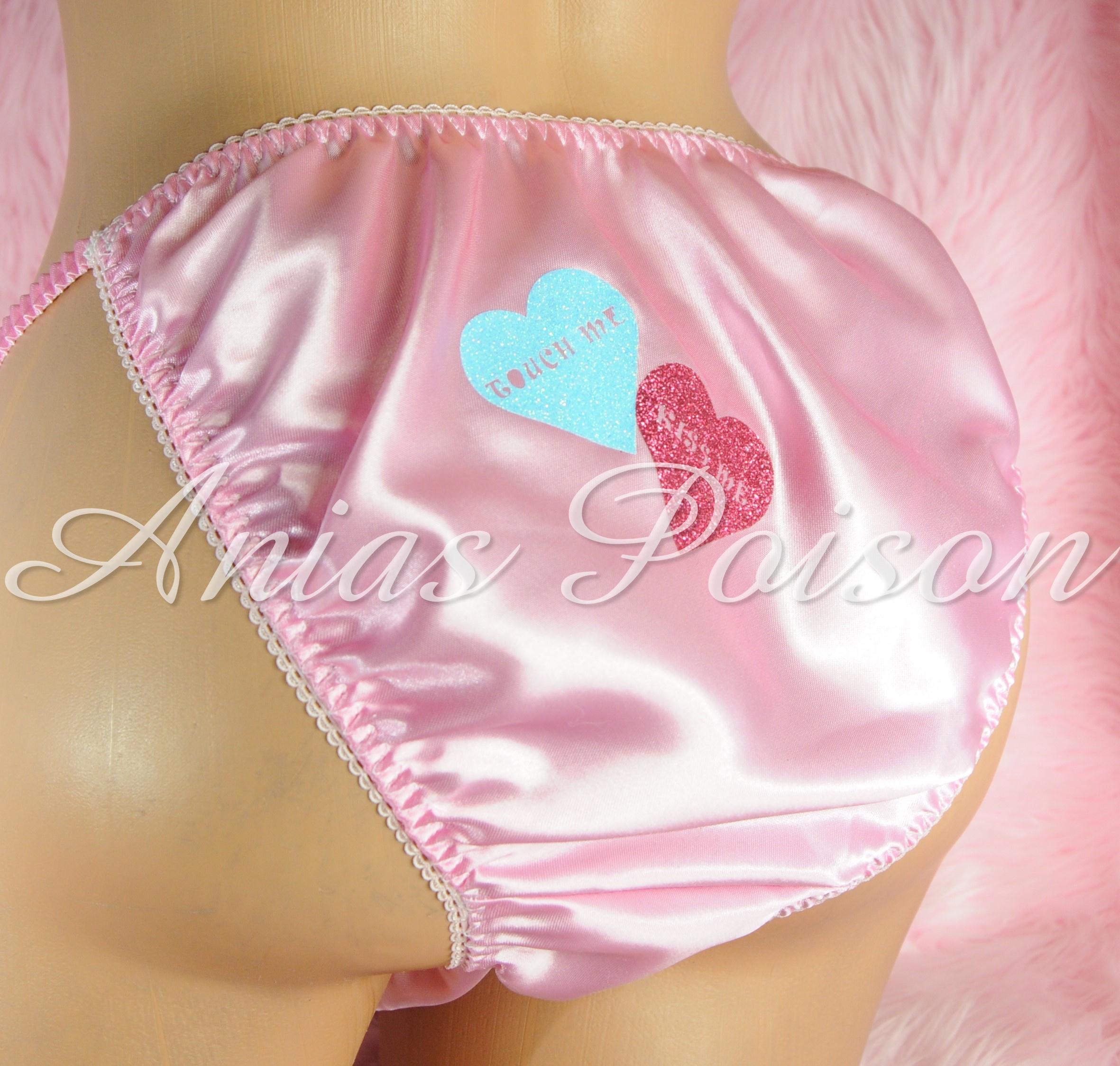 Valentine's Day Satin Mens Sissy Custom Conversation Heart 80s style string bikini panties