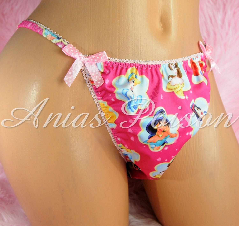 Rare Novelty Character print Spandex Stretch string bikini Princess Panties