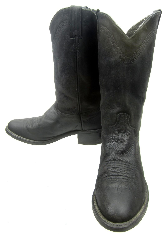 44d97ec1377 Vintage Black Leather Cowboy Western Work Boots Vibram Oil Resist Soles Men  10 D