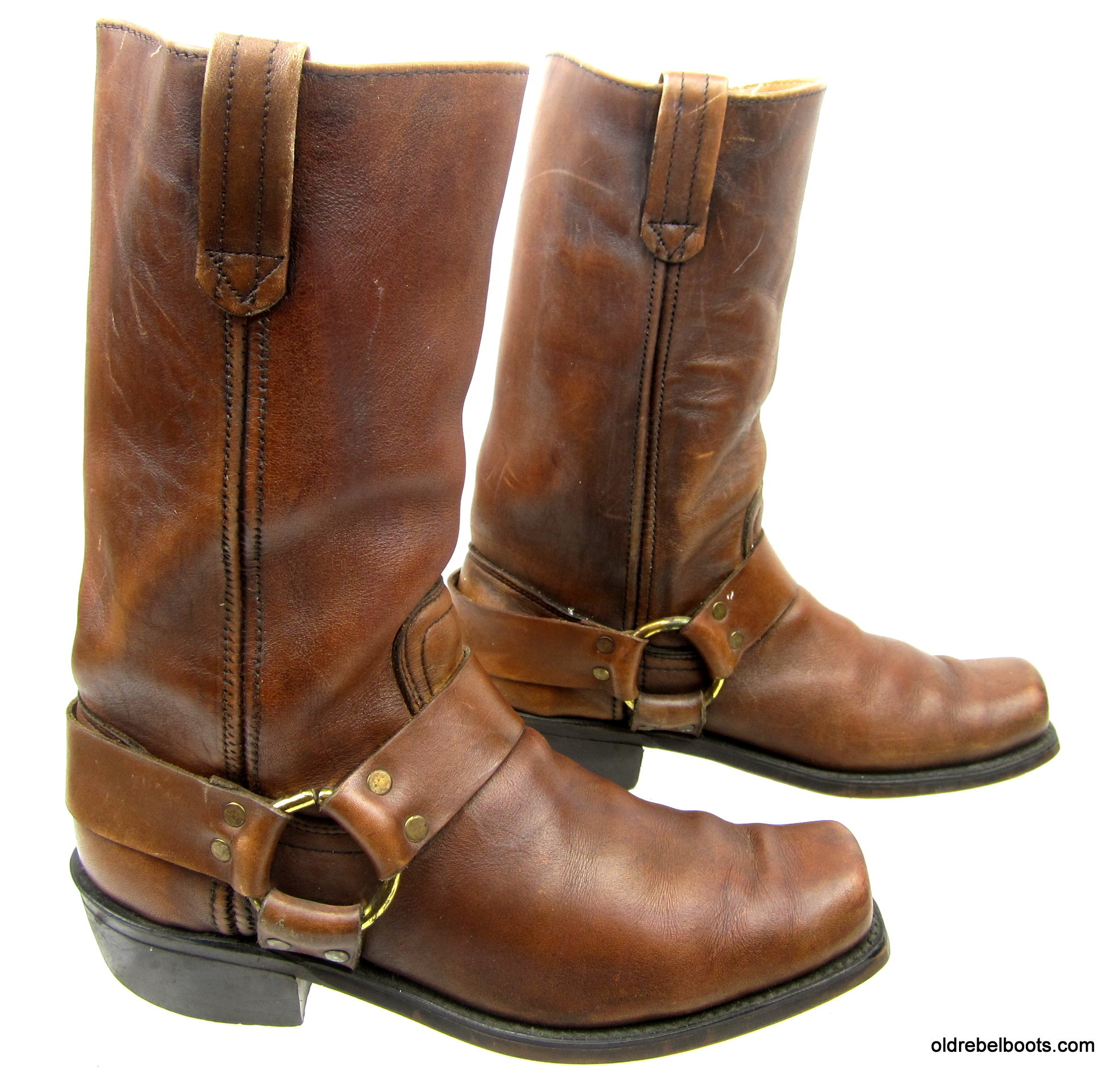 ae28768ca190b Vintage 60s 70s Dexter High Rider Brown Leather Square Toe Harness  Motorcycle Boots Men Size 8.5 D