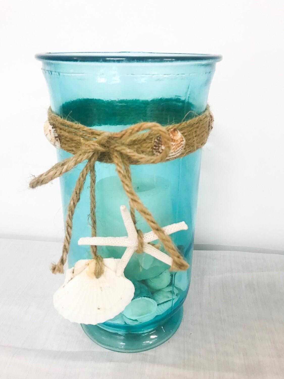 """Blue Glass w/Twine & Shells 10"""" Tall 5"""" Wide"""