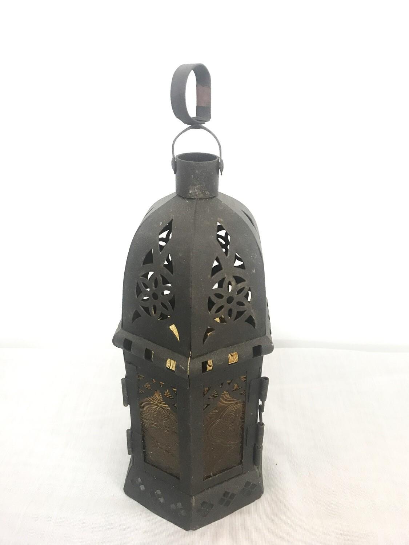 """Brown Metal Lantern 6"""" Tall"""