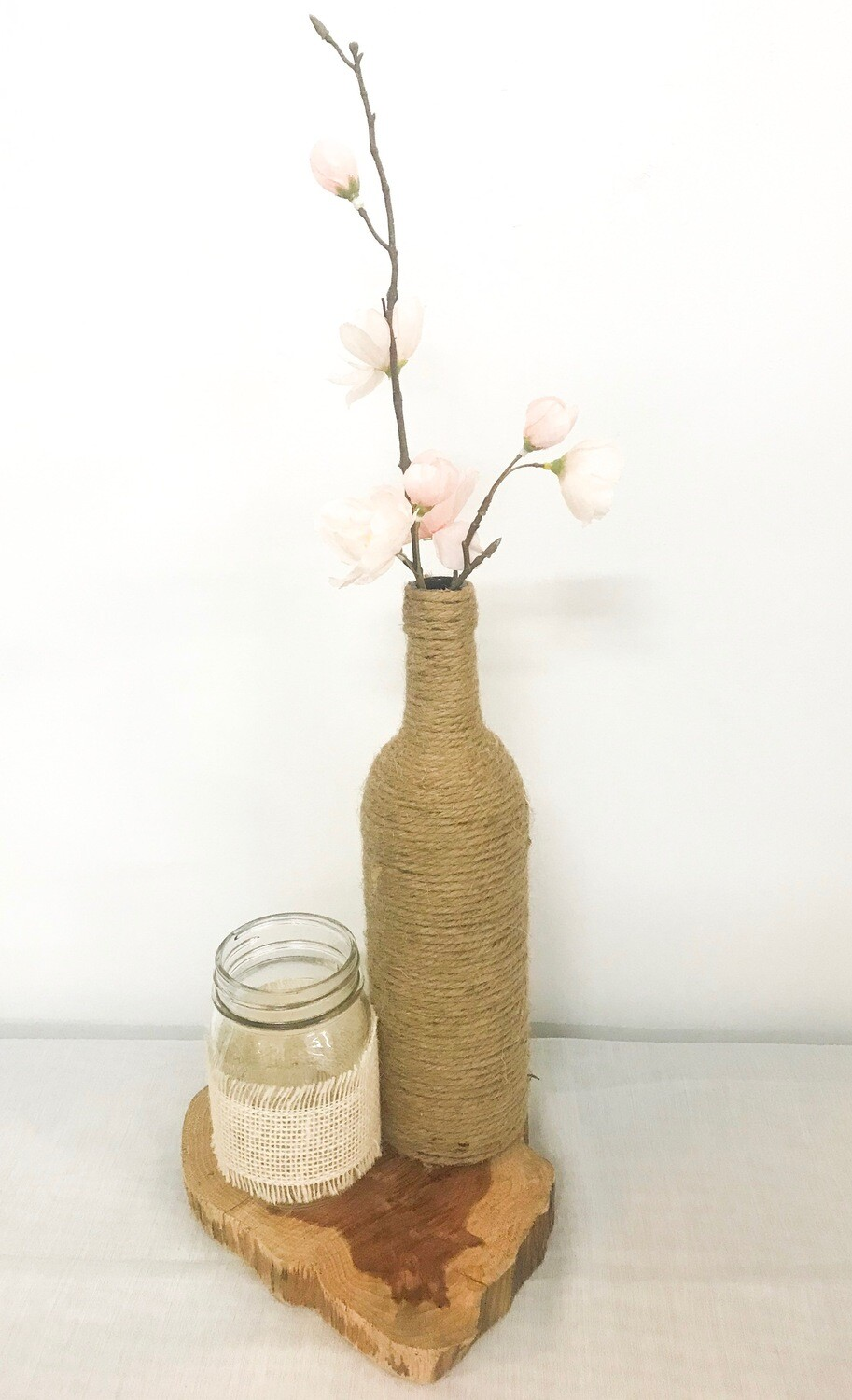 "Twine Wrapped Wine Bottle 12"" Tall"