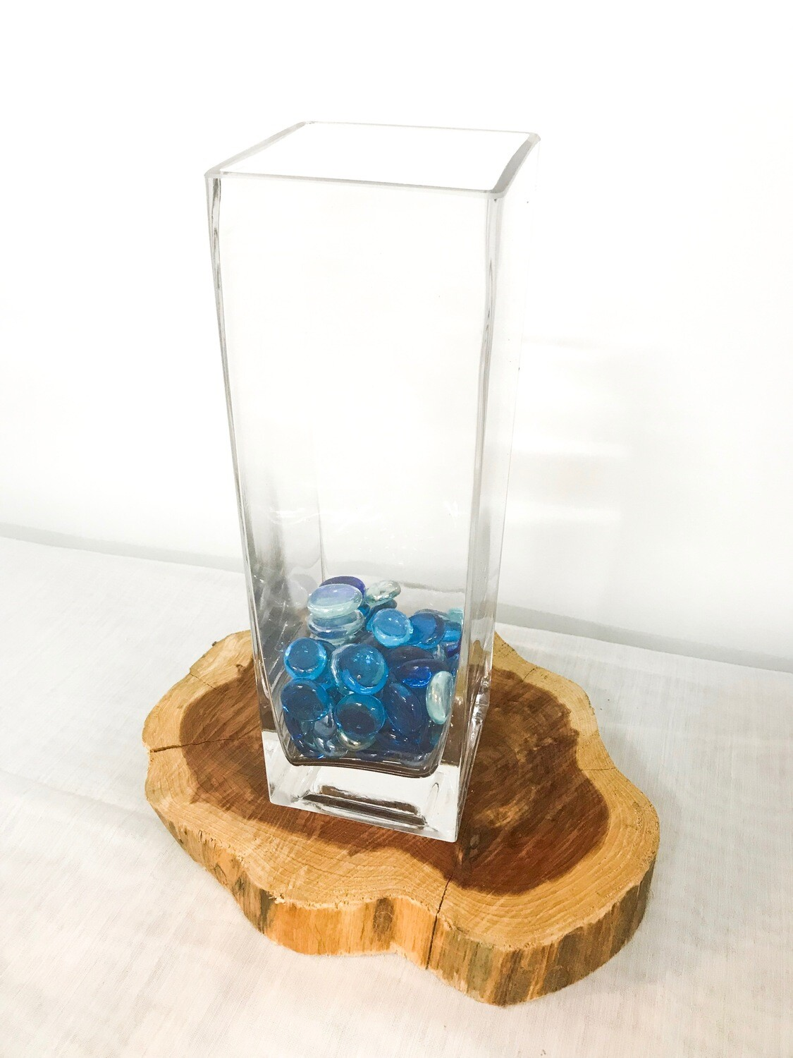"Square Glass Vase 10"" Tall 3"" Wide"