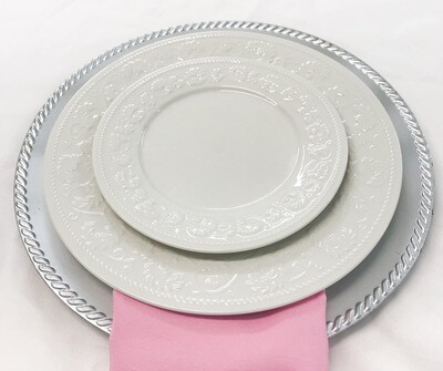 """Plate- 10.5"""" White with Design Dinner Plate"""