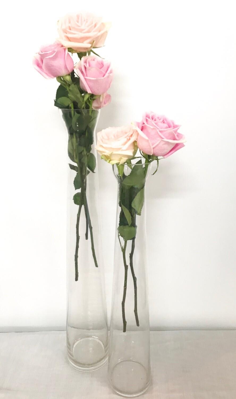 """Tall Narrow Glass Vase 24"""" Tall"""