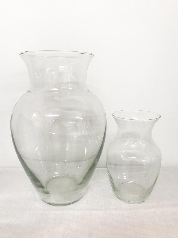 "Narrow Neck Round Glass Vase 8"" Tall"