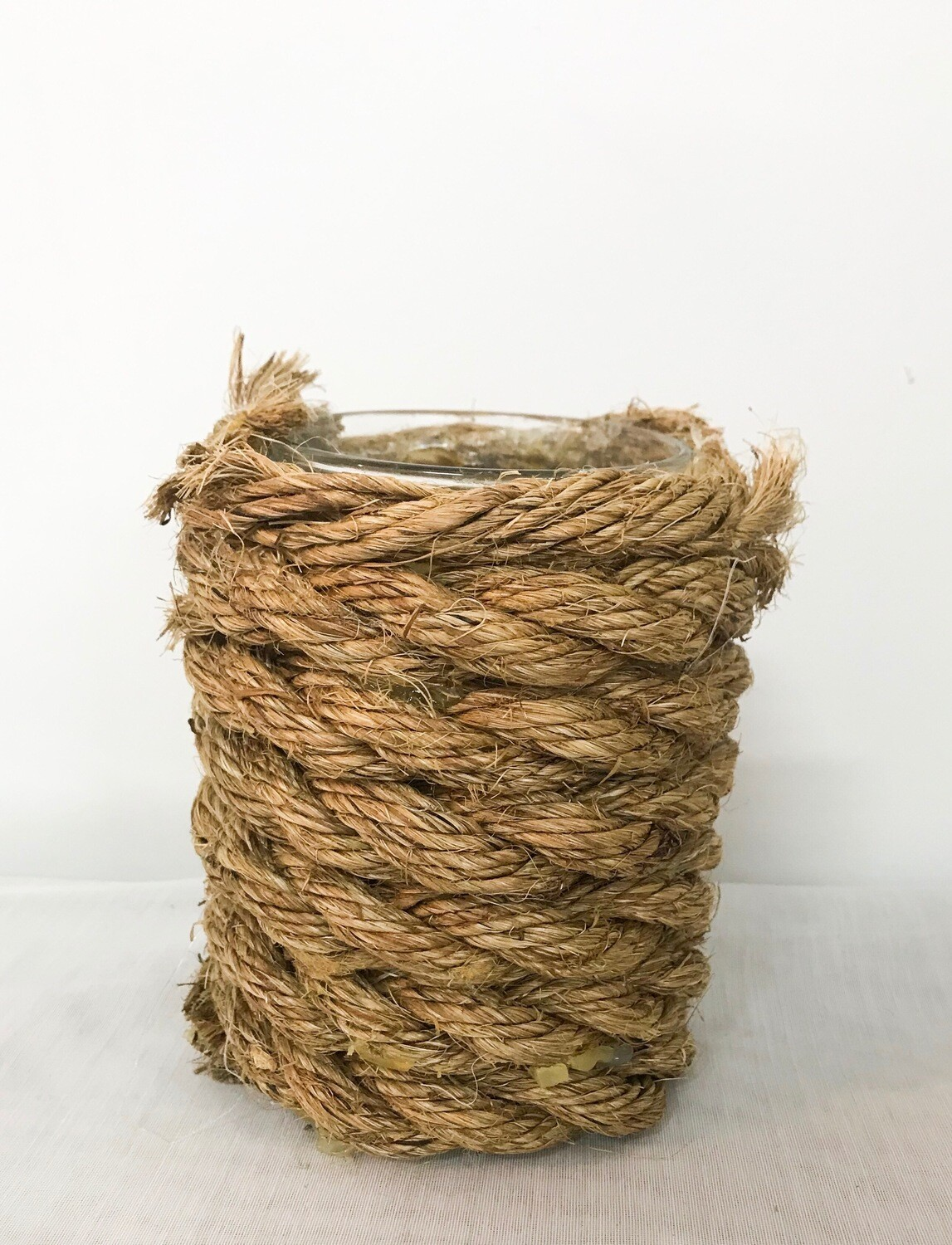 """Glass Vase Wrapped in Rope 6"""" Tall 3"""" Wide"""