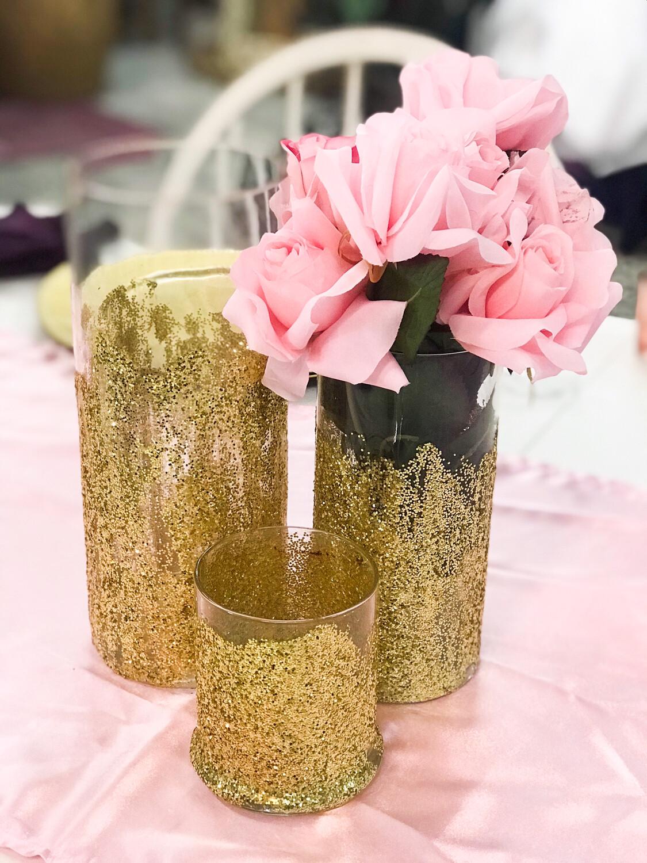 "Cylinder Vase - Gold 10"" Tall 3.5"" Wide"