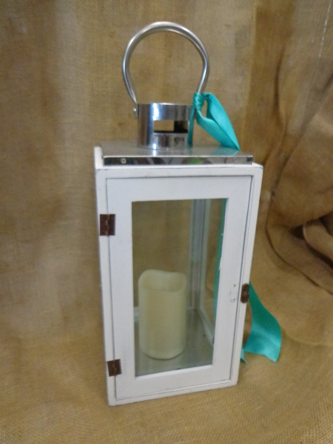 "White ""Boxy"" Lantern with Silver Top"