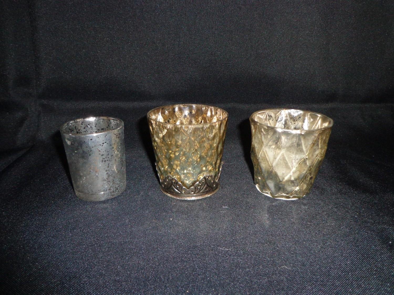 """Votive Holder-Mercury Glass """"Silver"""" Colored"""
