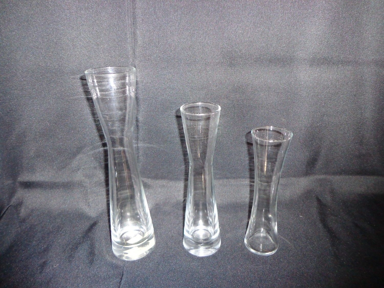 """Hourglass Shaped Glass Vase 9.5"""" Tall"""