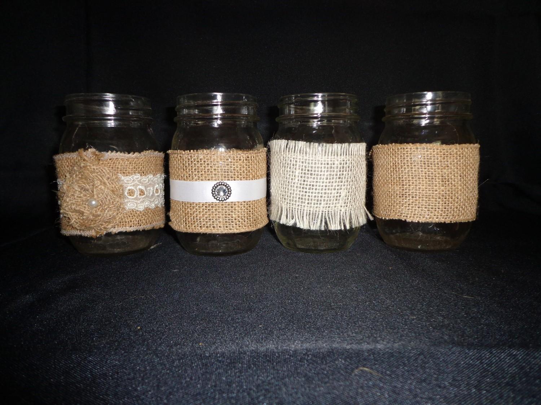 Mason Jar with Burlap - 16 oz