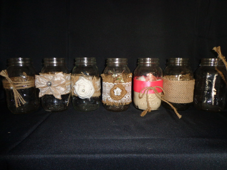 Mason Jar with Burlap - 32 oz - with Coral Ribbon & Bow
