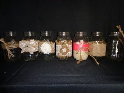 Mason Jar with Burlap - 32 oz - with White Flower