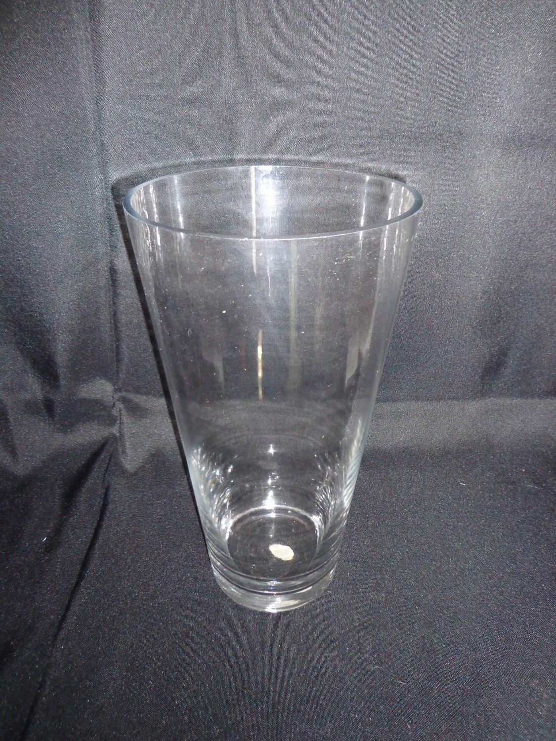 """V"" Shaped Glass Vase 11"" Tall 6"" Wide Opening"