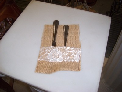 Burlap with Lace Silverware Pockets