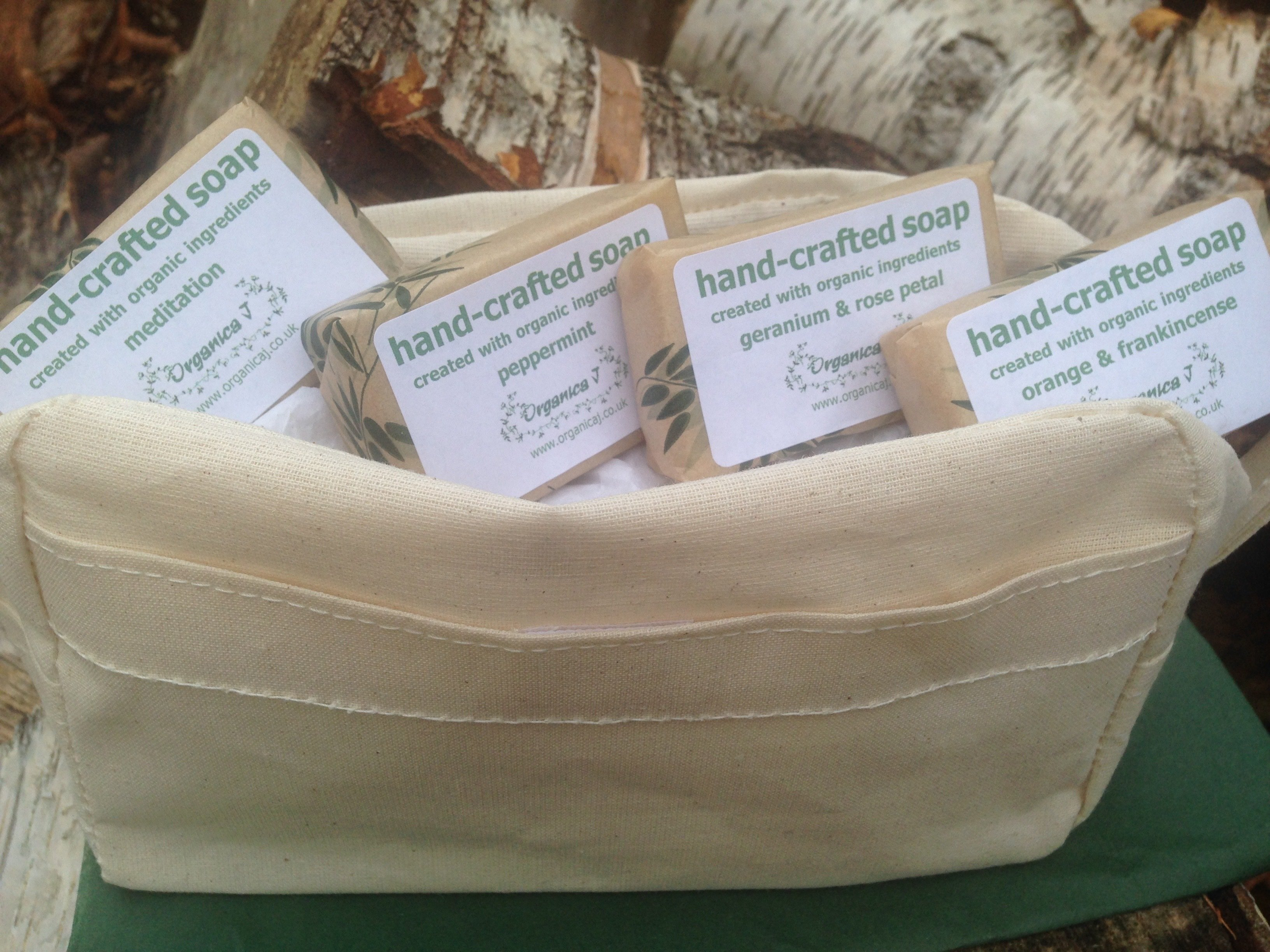 Organic Soaps in A Natural Cotton Toiletry Bag OSTB01