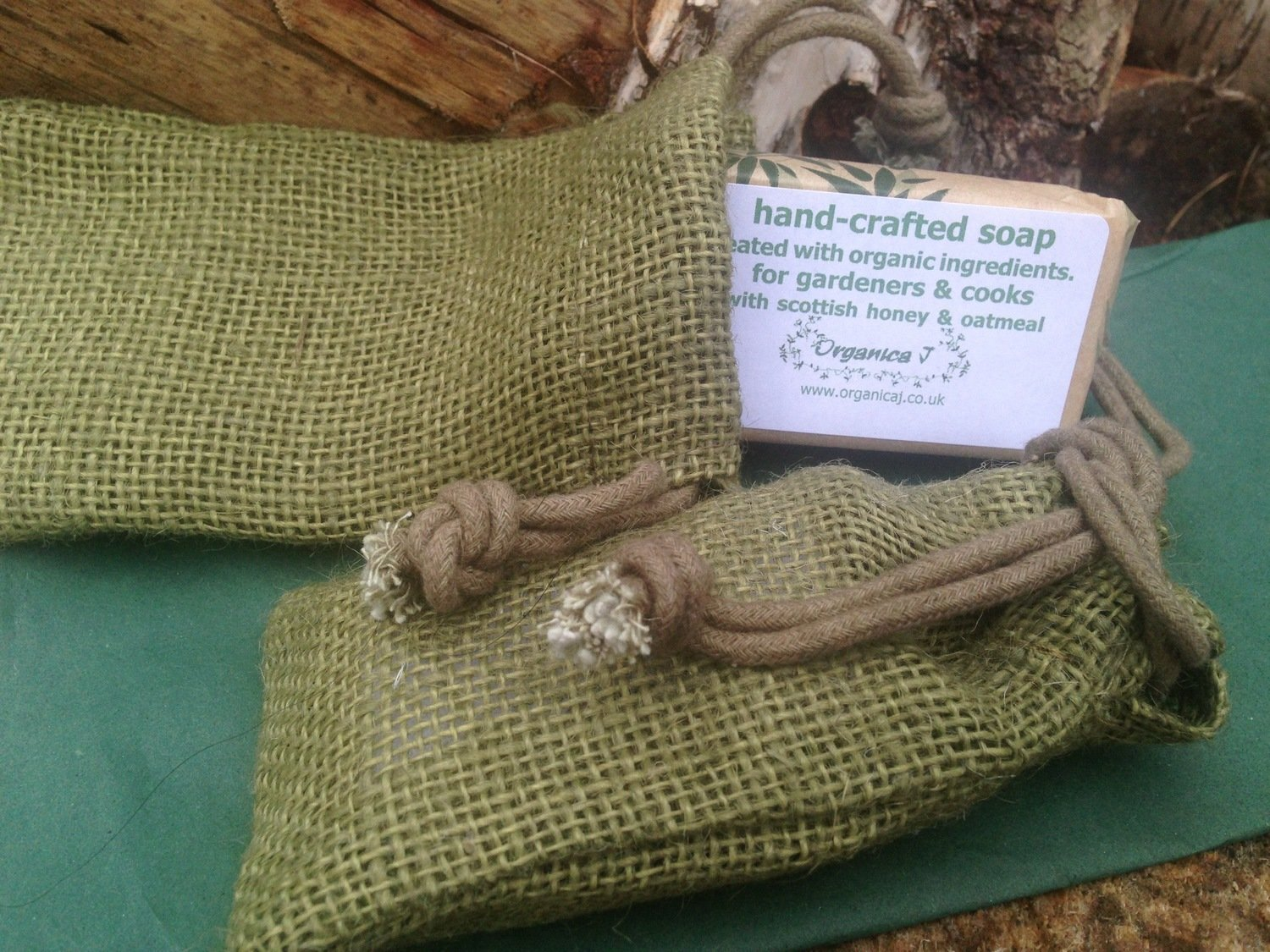 Organic Soap in Natural Green Jute Gift Bag