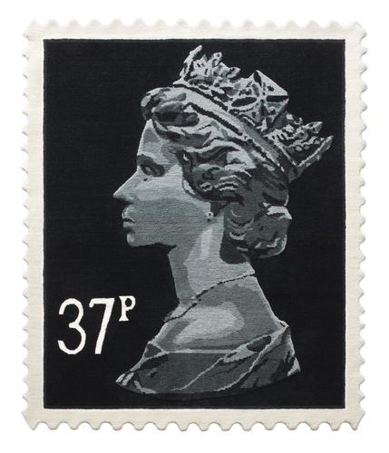 Black 37p Stamp Rug 120 x 100 cm