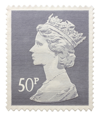 Grey 50p Stamp Rug 120 x 100 cm