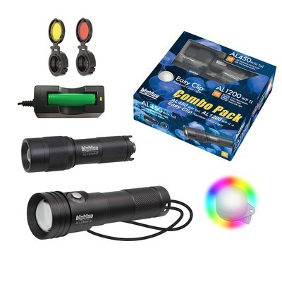 Combo Pack: 1200 Lumen Narrow Beam + 450 Lumen Wide Beam + Rainbow EZ Clip