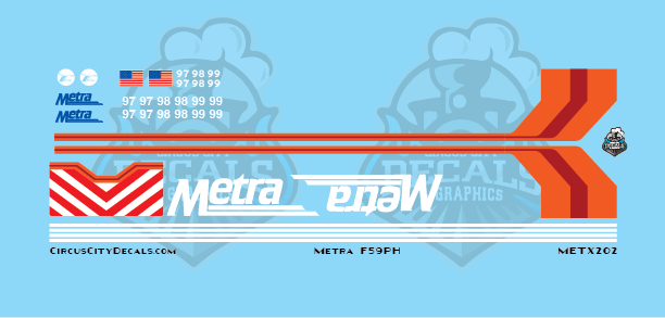 Metra METX F59 HO Scale Decal Set
