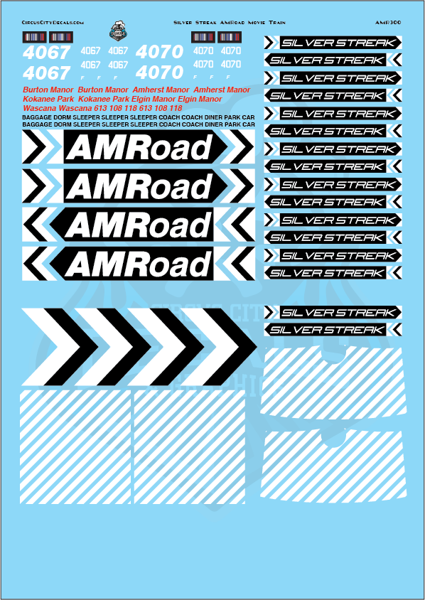 AMRoad Silver Streak Movie Train Decals Black O Scale
