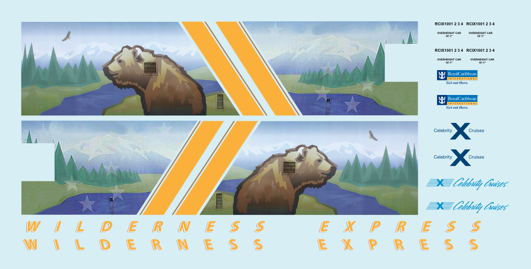 Alaska Railroad ARR Wilderness Express Dome O Decals Royal Caribbean Mckinley
