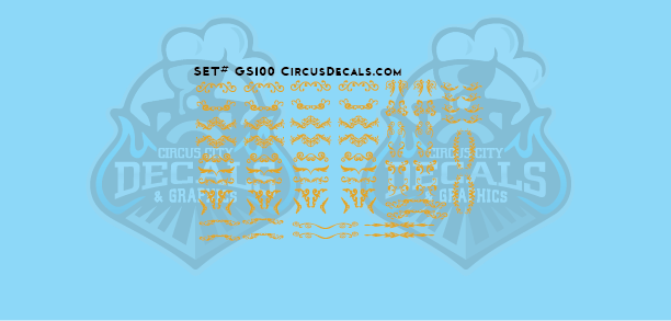 GS100 Gold Scroll Circus Decals N Scale Cole Bros Ringling