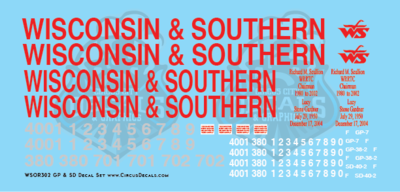 Wisconsin & Southern Railroad GP & SD Locomotive Decal Set WSOR